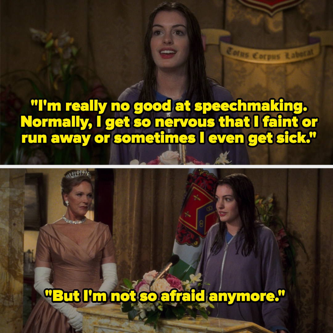 """Mia saying, """"I'm really no good at speechmaking. Normally, I get so nervous that I faint or run away or sometimes I even get sick."""""""