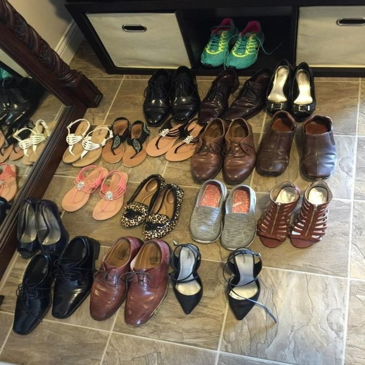 Reviewer's showing shoes sitting in entryway