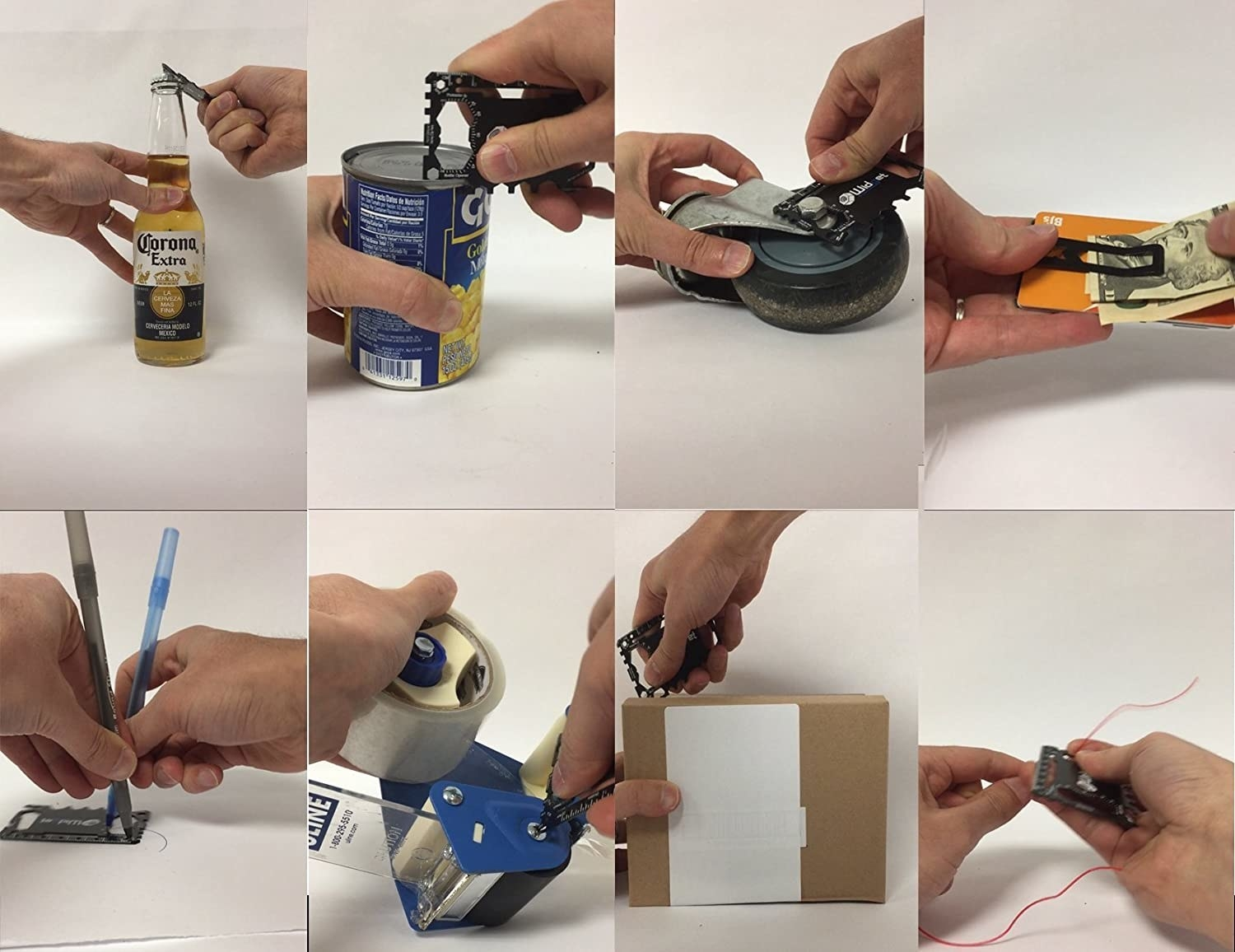 A flat, rectangular tool that's cut in a way that encompasses 43 different tools being demonstrated to open a bottle, a can, use as a stencil, wrench, boxcutter, wire cutter, and money clip