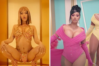 Cardi B squatting sexually on the left, and strutting confidently on the right, wearing sexual clothing