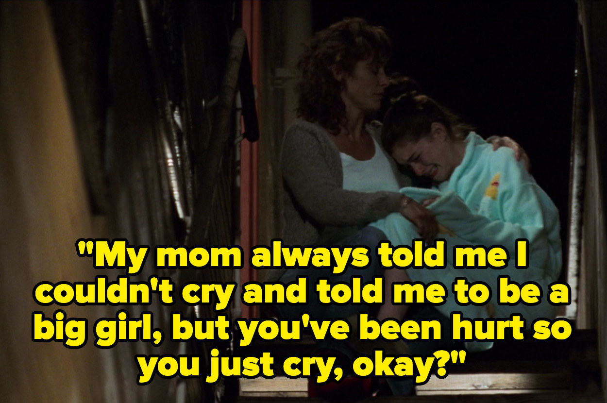 """Helen holding a crying Mia on the stairs and saying, """"My mom always told me I couldn't cry and told me to be a big girl, but you've been hurt so you just cry, okay?"""""""