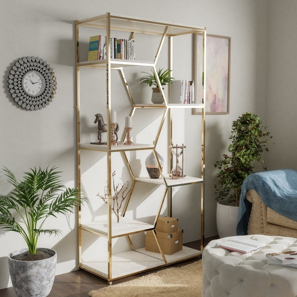 the gold metal bookcase