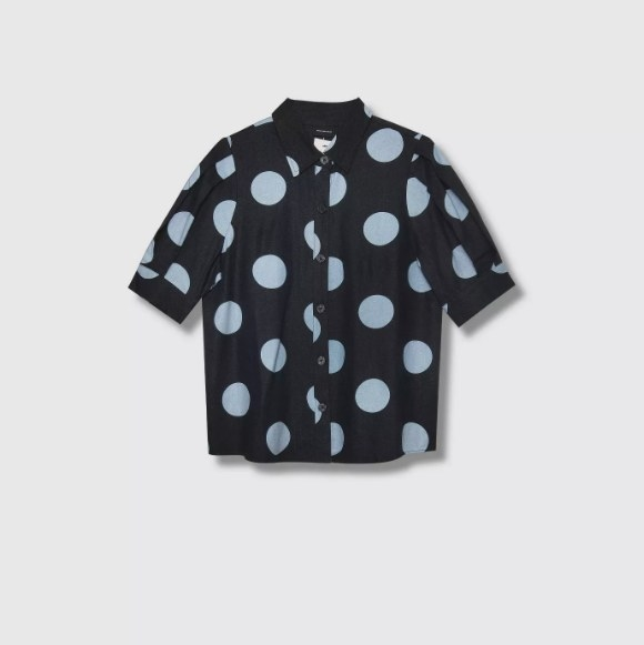 The black polka dot shirt with buttons