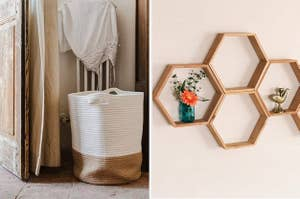 left, rope basket, right, hexagon shelves