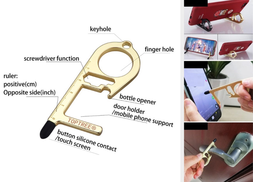A candy-cane shaped key chain, with the touch screen pen on the long end and two bars across the rounded end, forming a finger and screwdriver hole. A third bar sticks out on the bottom, parallel to other two, to grasp door handles or hold a phone