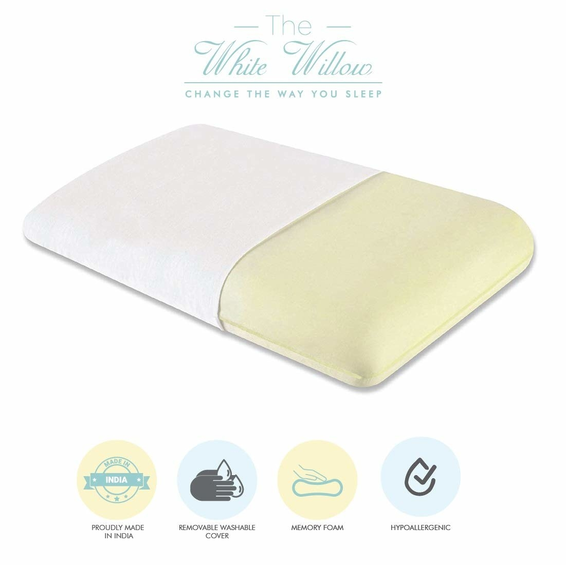 A cream memory foam pillow
