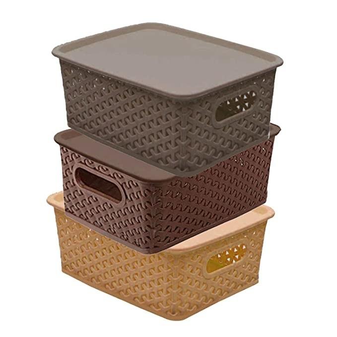 Brown plastic storage bins with lids.