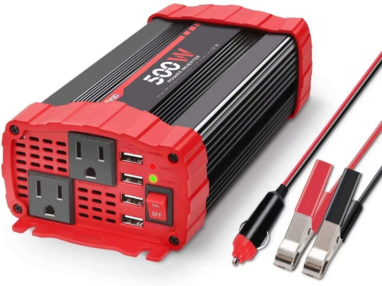 A close-up of the power inverter
