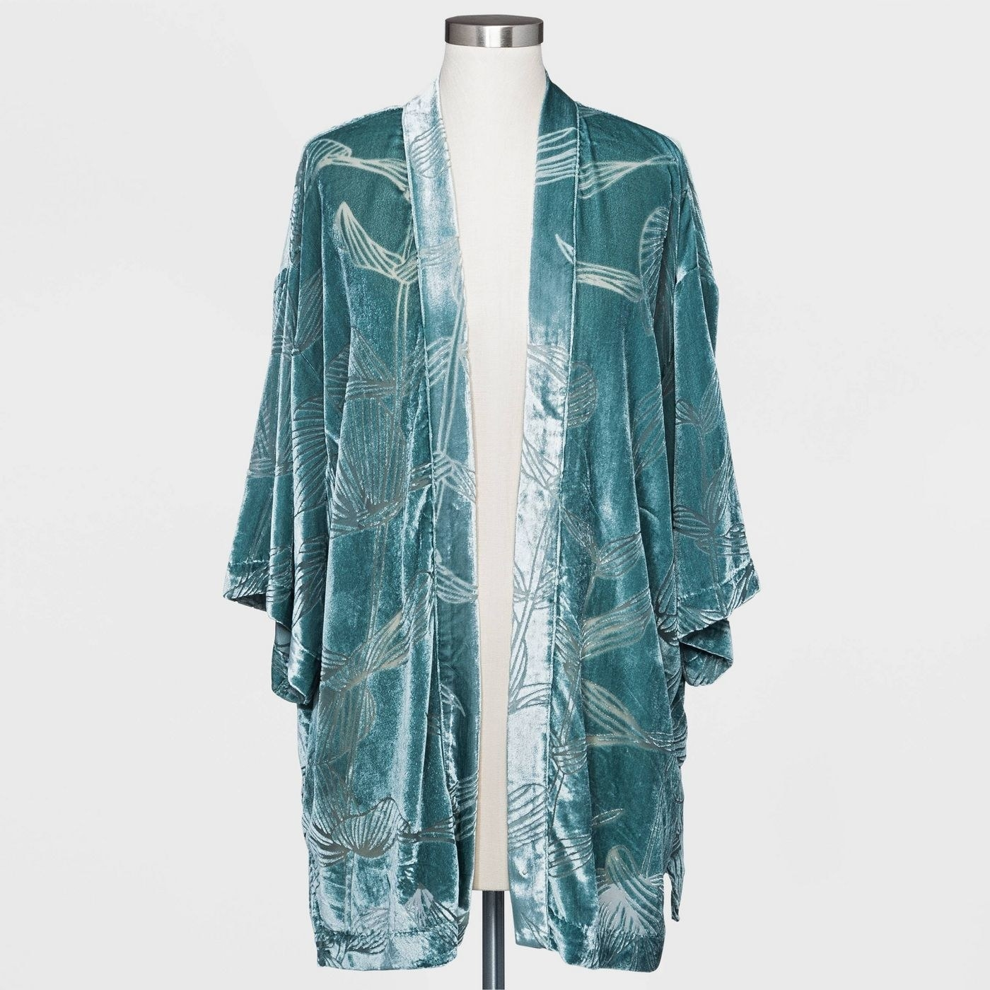Teal kimono with floral pattern