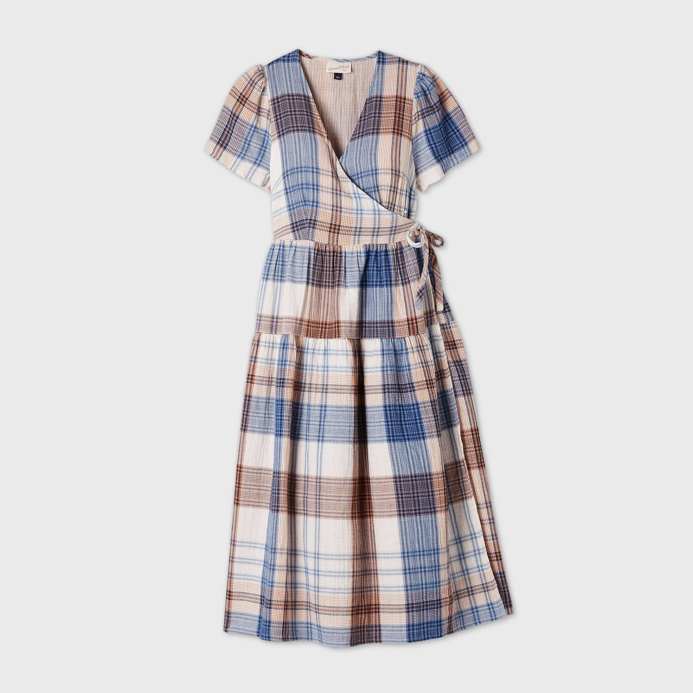 Brown and blue plaid dress