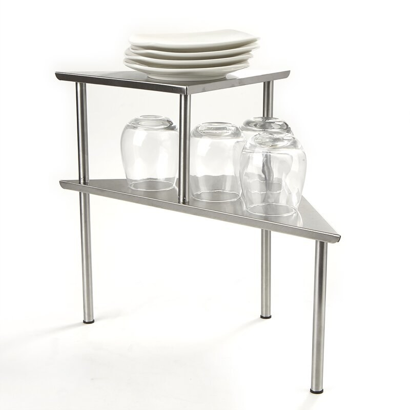 The silver corner countertop table