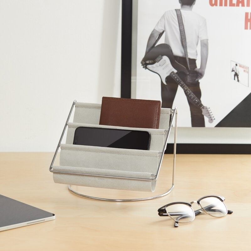 The gray desk organizer