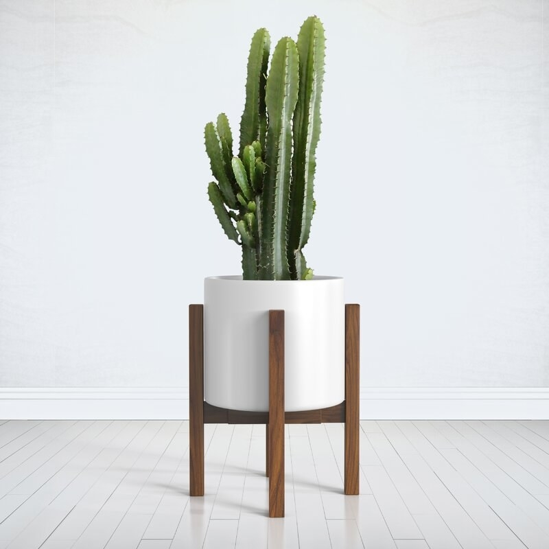 The brown plant stand with white pot