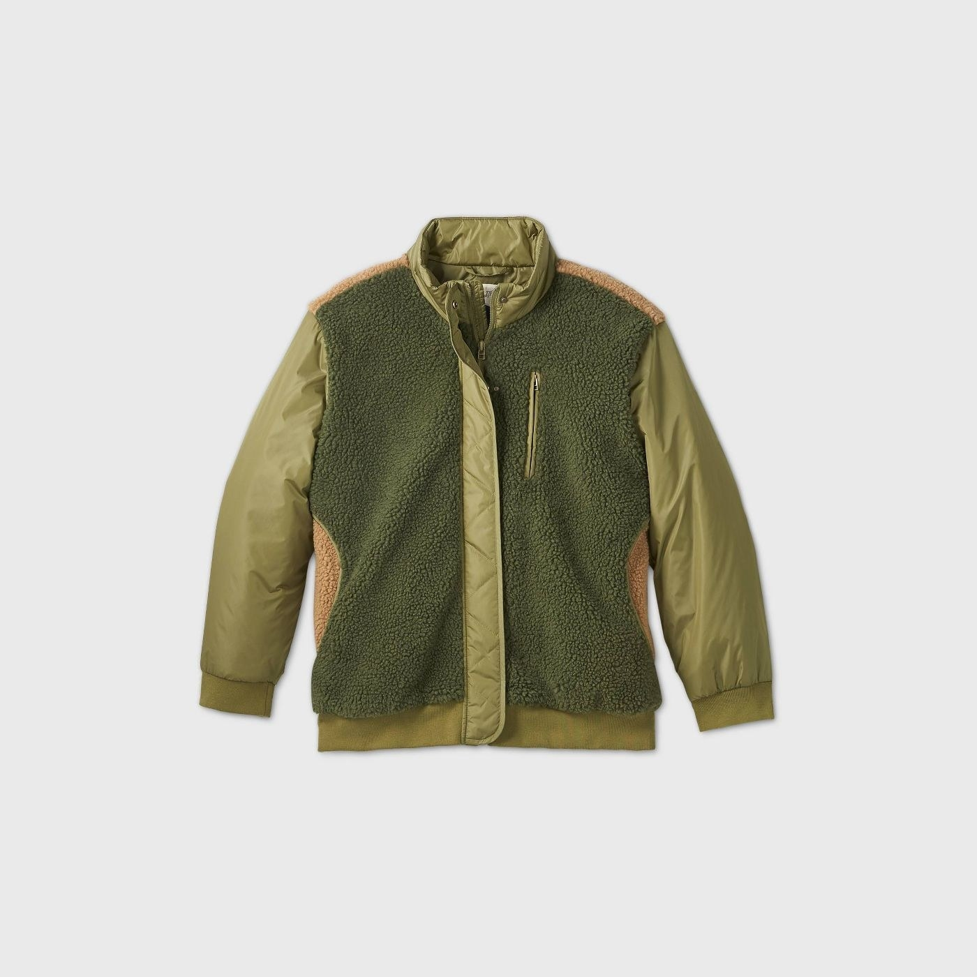 Green jacket with tan details