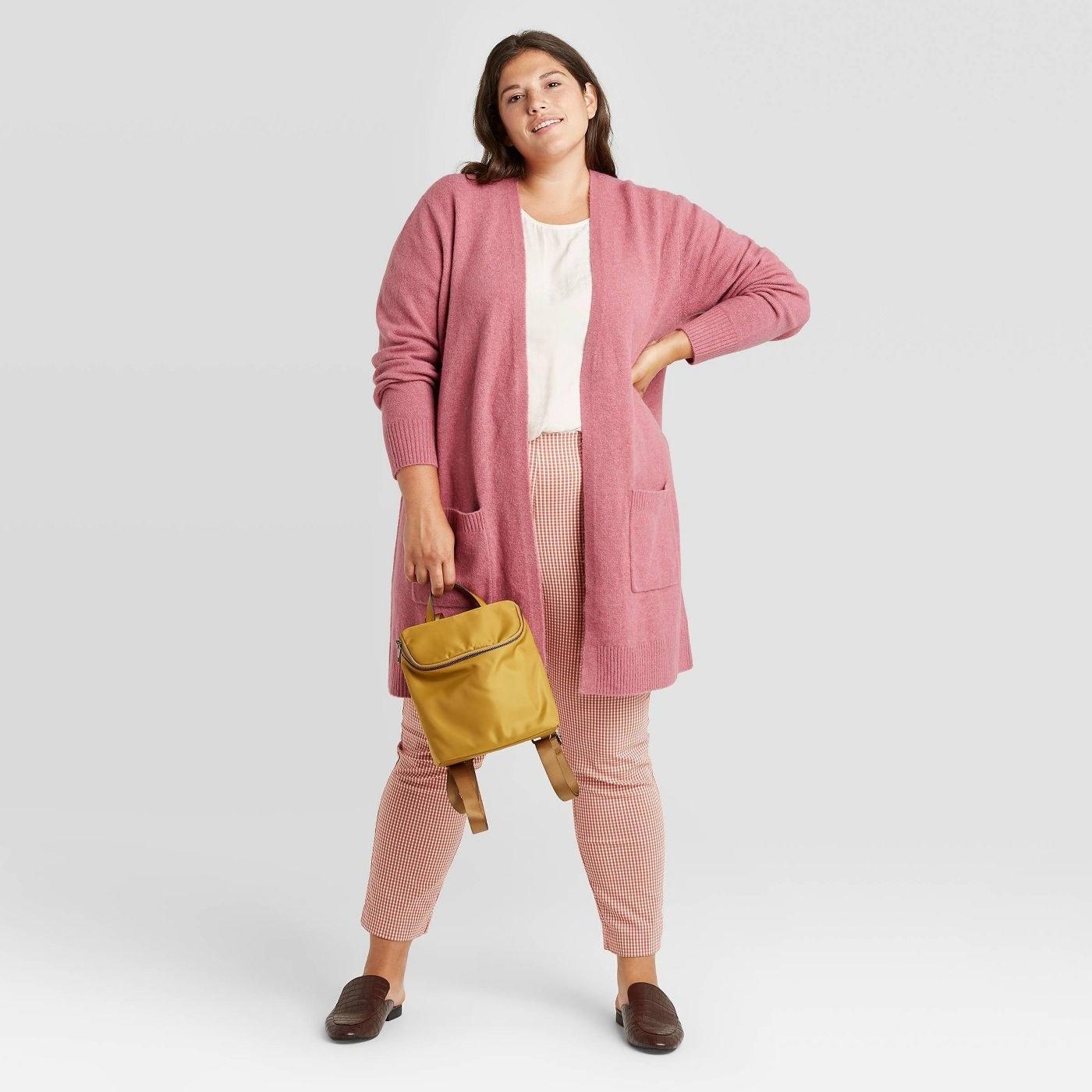 Model wearing light purple long cardigan
