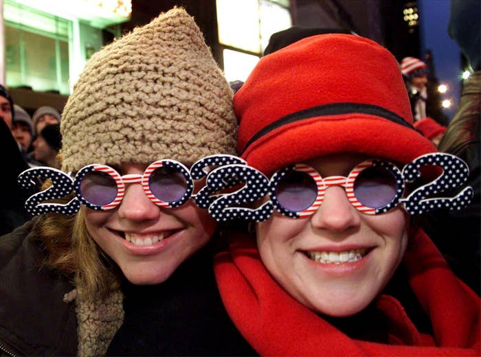 People wearing 2002 glasses in Times Square
