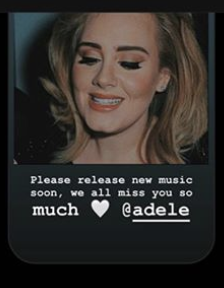 """Colyn posting """"Please release new music soon. We all miss you so much, @adele."""""""