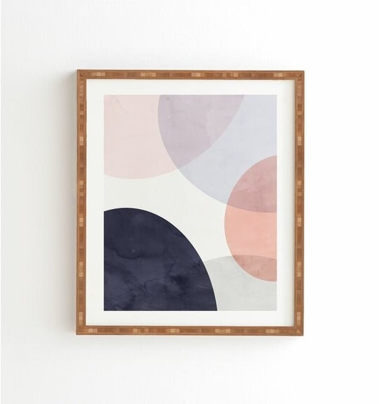 The blue, white and pink painting hanging