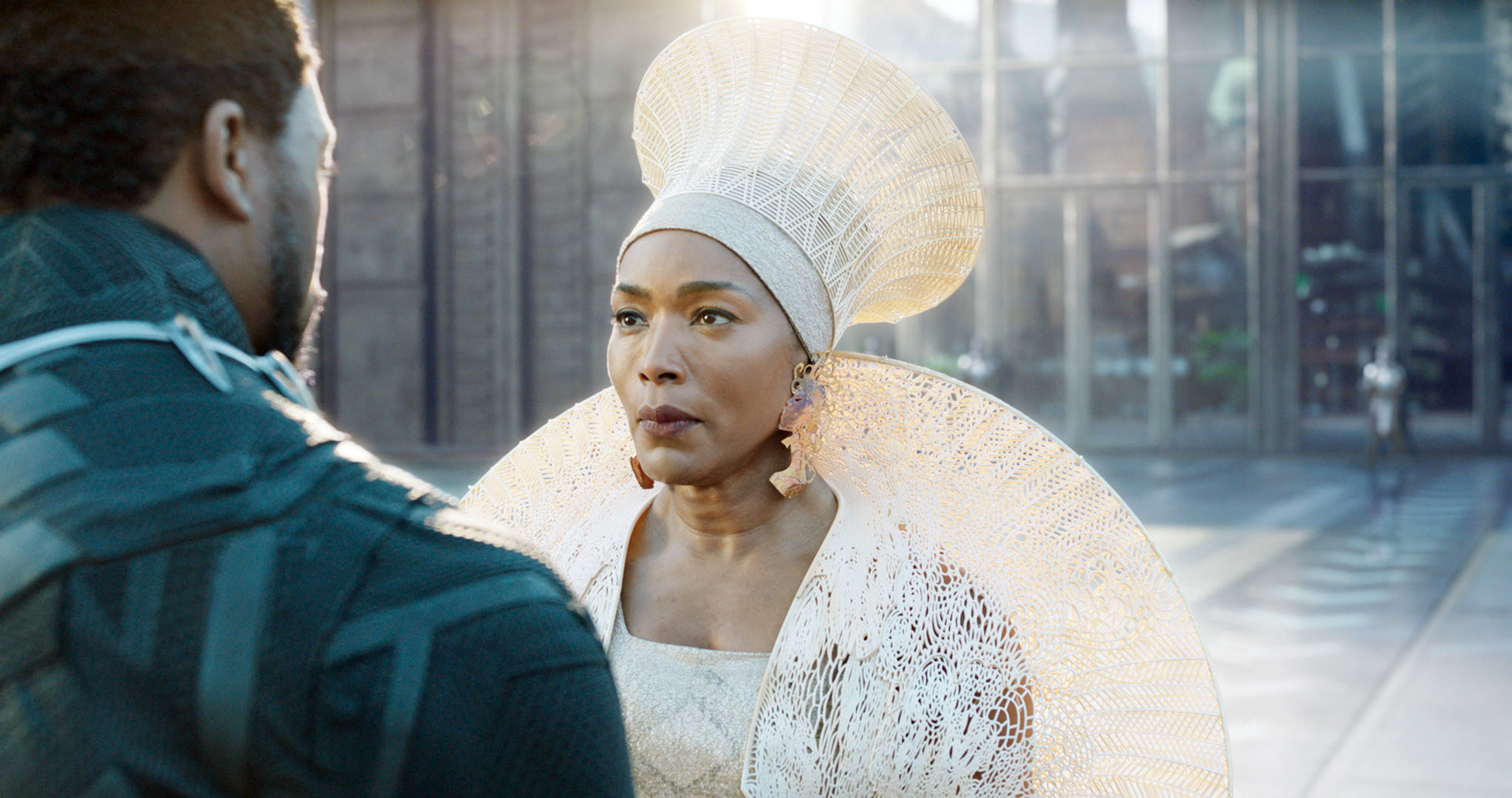 Angela Bassett as Queen Mother speaking to T'Challa