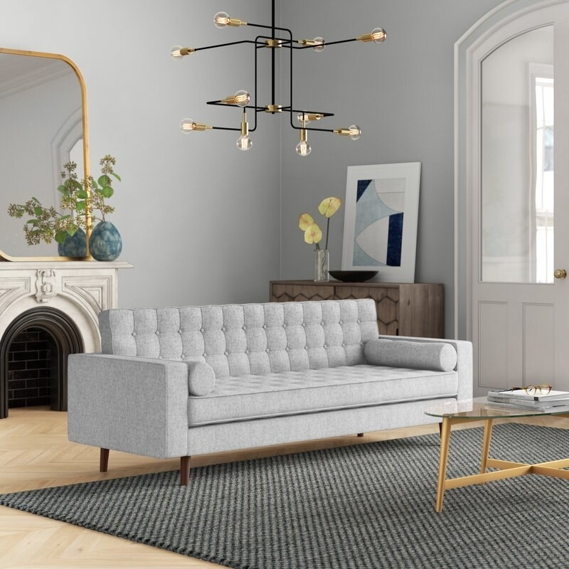 The gray square arm sofa