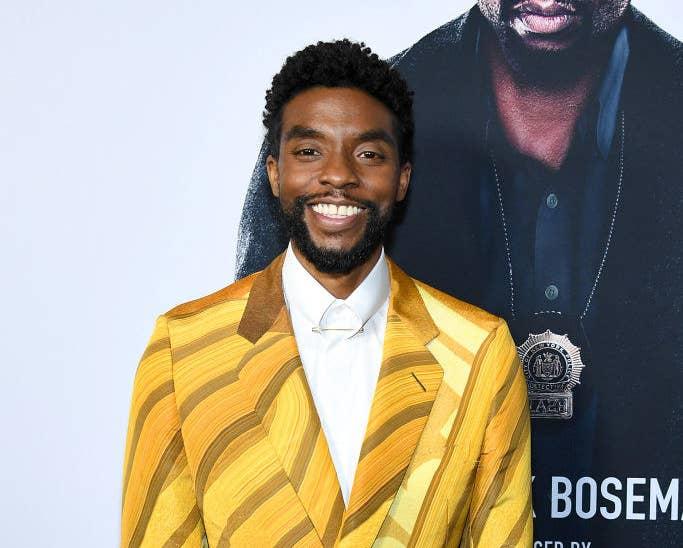 Chadwick Boseman poses at a Hollywood event