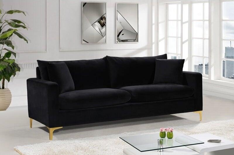 The black velvet sofa with gold legs