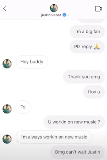 Justin Bieber telling a fan he's working on new music