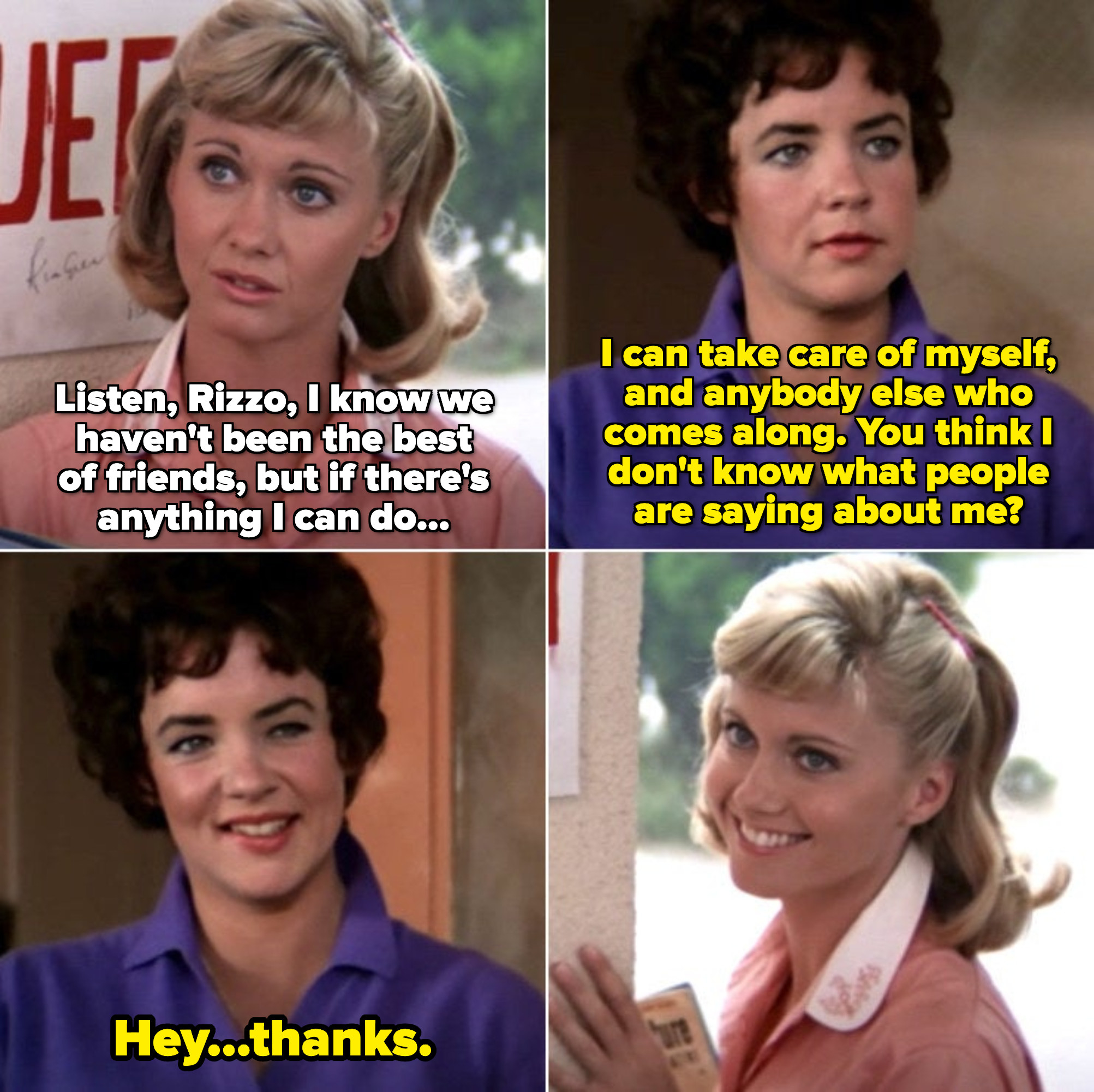 Sandy offering an upset Rizzo help at school toward the end of the movie, even though they aren't good friends. They have an unspoken truce
