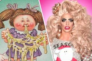 A garbage pail kid next to Alyssa Edwards the drag queen