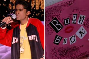 Kevin G rapping next to a picture of the burn book