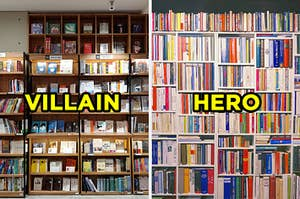 """On the left, shelves of books in a large bookstore with """"villain"""" typed on top of the image, and on the right, a shelf with various books with """"hero"""" typed on top of the image"""