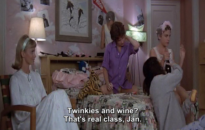 """Marty criticizing Jan for bringing Twinkies to the sleepover, saying: """"Twinkies and wine? That's real class, Jan"""""""