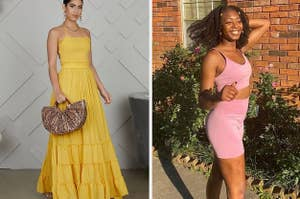 Side by side of model wearing backless yellow maxi dress and reviewer wearing pink sports bra and bike shorts set