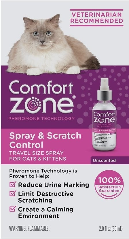 Infographic showing the spray bottle and detailing that it reduces spraying and scratching