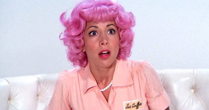 """Frenchy with bright pink hair, staring at Frankie Avalon while he sings """"Beauty School Dropout"""""""