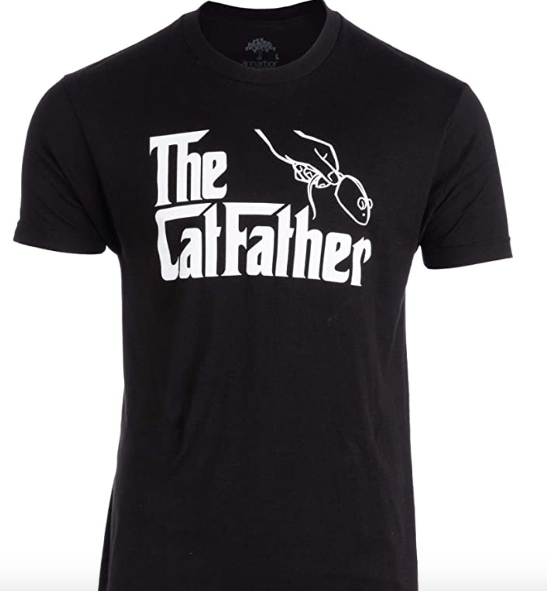 "a black tee that says ""the catfather"""