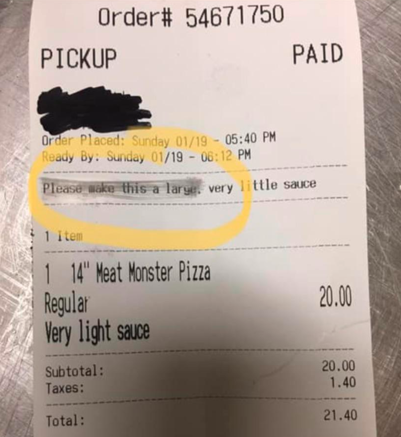 Someone ordered a small pizza and asked for the restaurant to make it a large in the notes