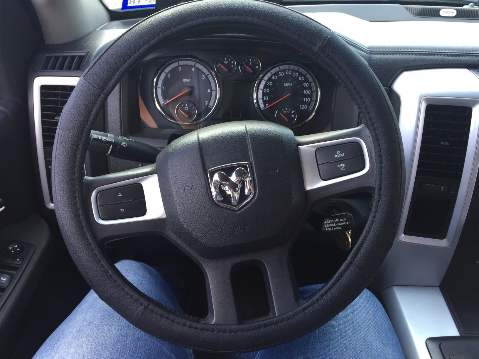 Reviewer photo of the steering wheel cover