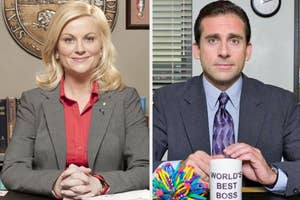 Leslie Knope and Michael Scott smiling brightly