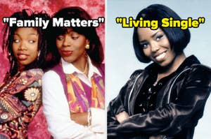 "Moesha and Dee pose back to back with ""Family Matters"" written on their tile, while Niecy poses on the right with ""Living Single"" written on her tile"