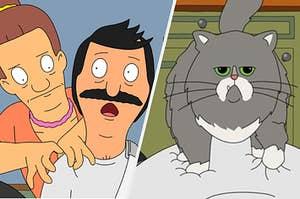 Jairo massaging Bob Belcher's shoulders and Mr. Business the cat