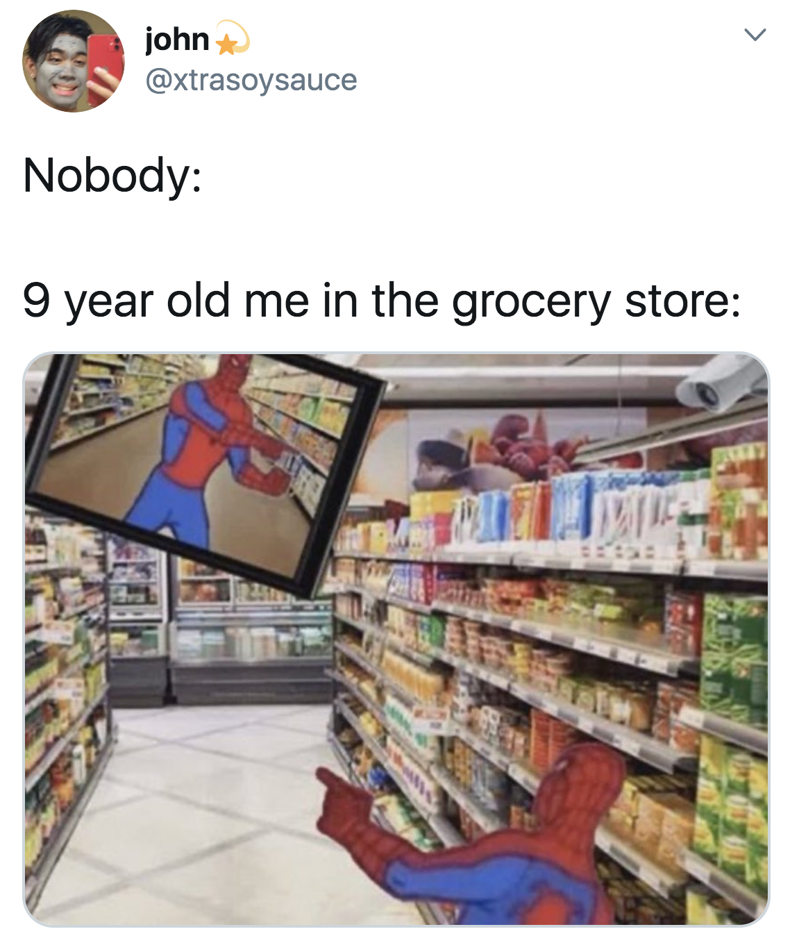 Picture of Spiderman pointing at himself on the CCTV at the grocery store