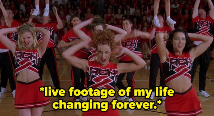 """Opening scene of Bring It On with the caption: """"*live footage of my life changing forever*"""""""