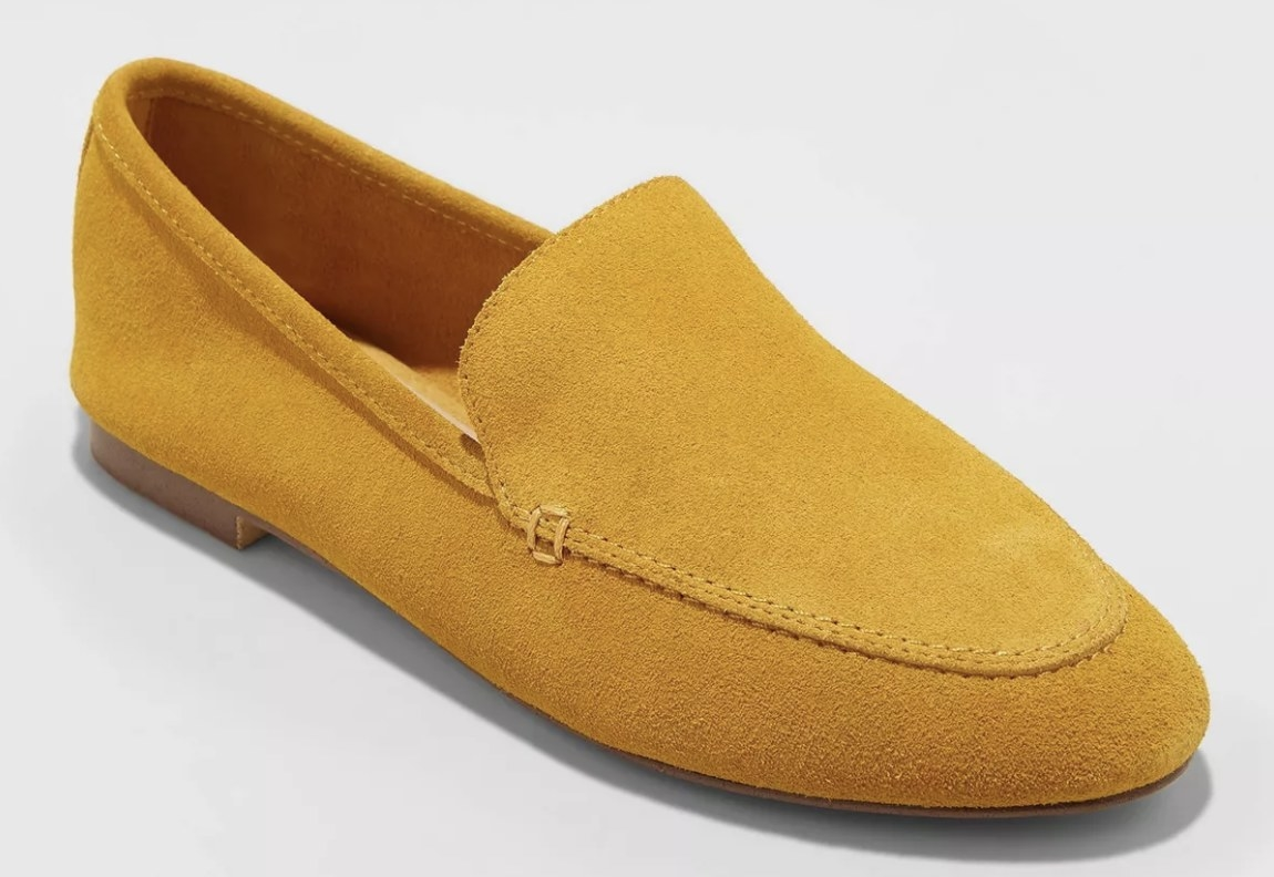 The mustard yellow loafers