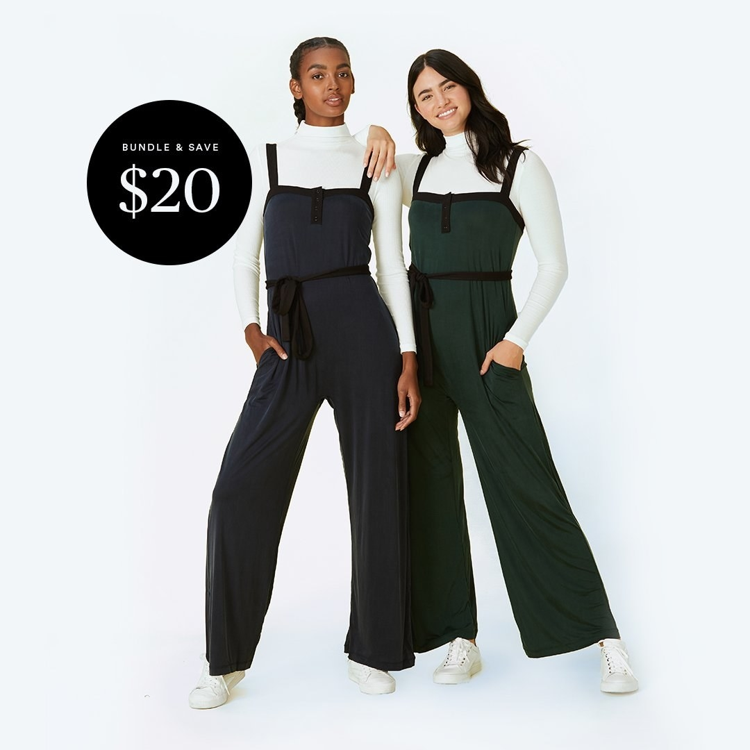 Two models wearing the bodysuit in white and one wearing the jumpsuit in navy blue and the other in green