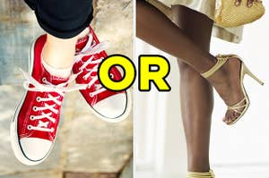 On the left, someone wears sneakers, and on the right, someone wears high heels with
