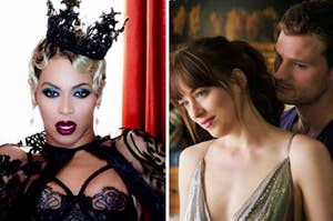 "Beyonce is wearing a crown on the left with Christian Grey and Ana from ""Fifty Shades of Grey"" on the right"
