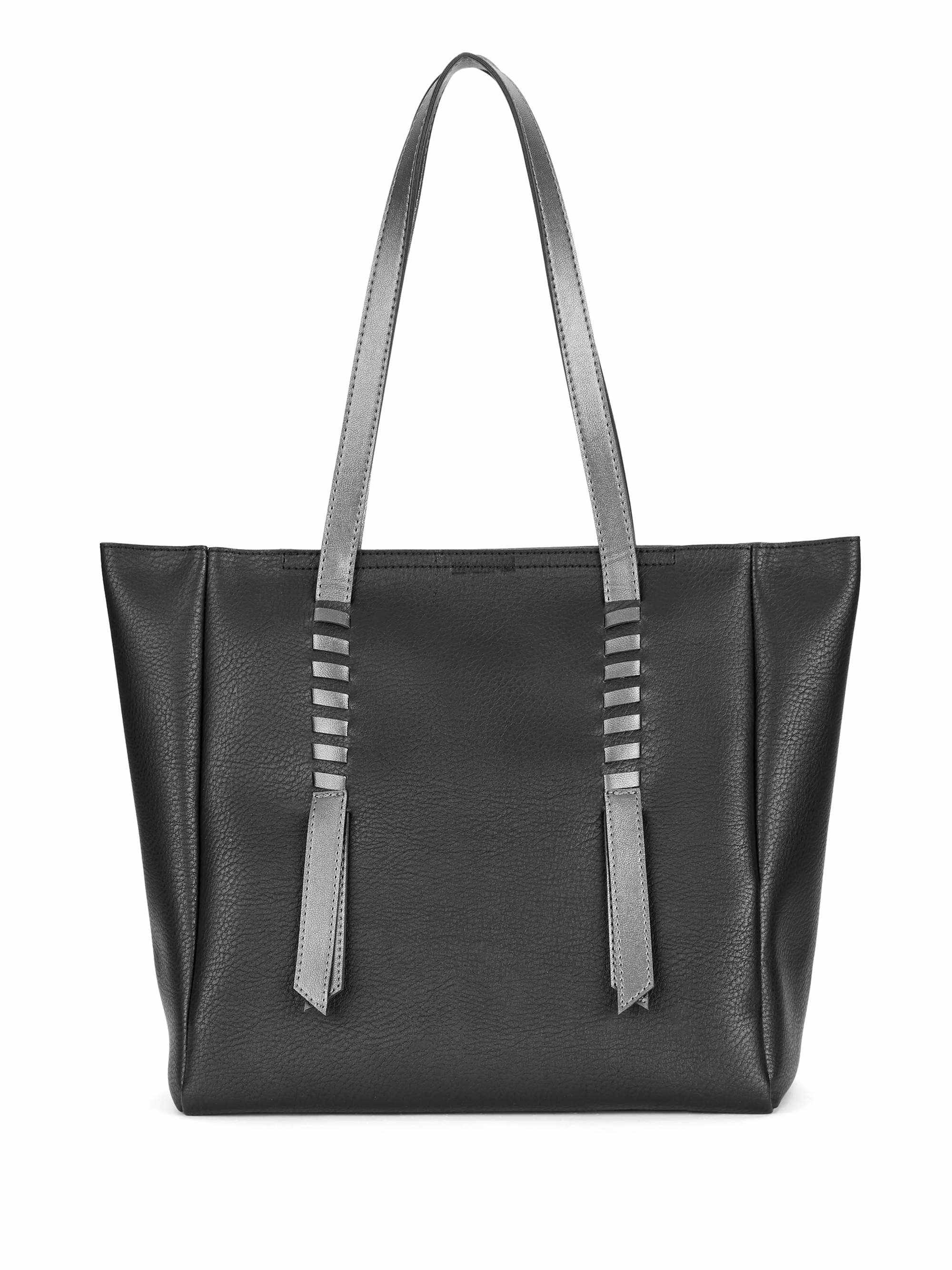 The tote bag in black with silver straps