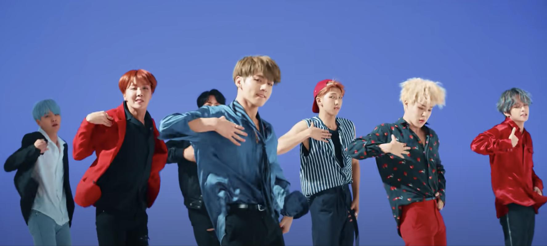 The Kpop band BTS dances