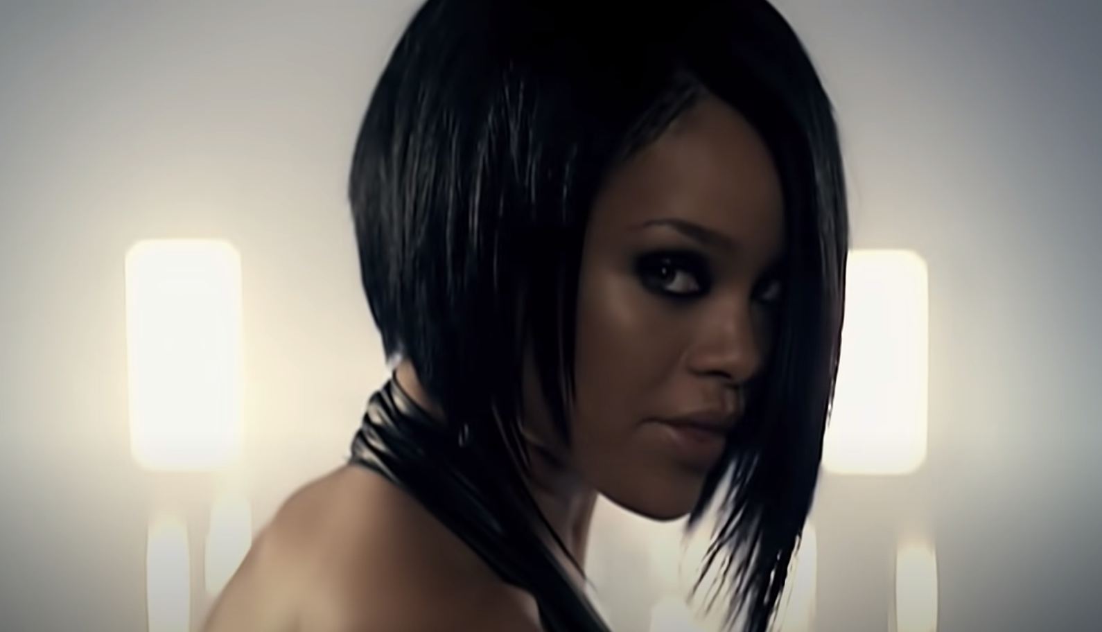 Rihanna staring forward with an impossibly cool haircut